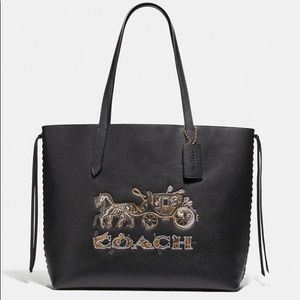 Coach Tote With Chelsea Animation Black Leather